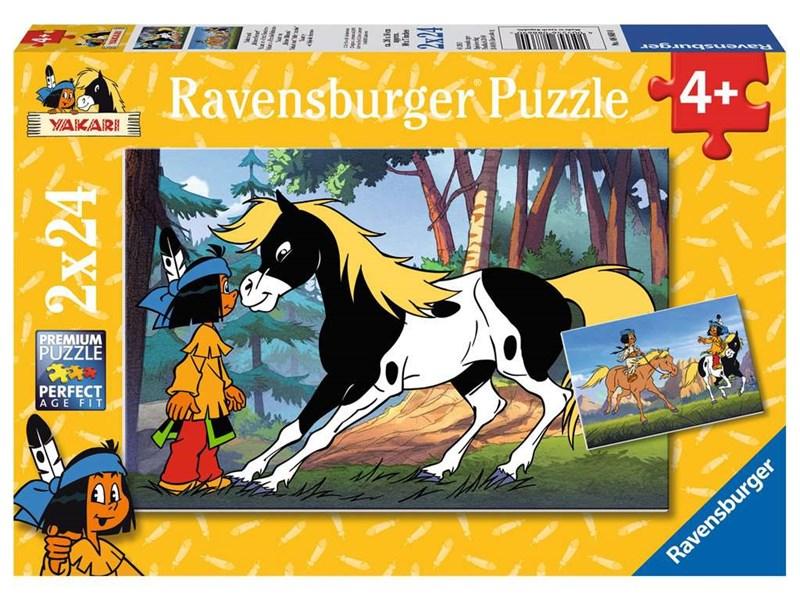 ravensburger puzzle yakari und kleiner donner anz teile 2 x 24 yakari puzzle. Black Bedroom Furniture Sets. Home Design Ideas