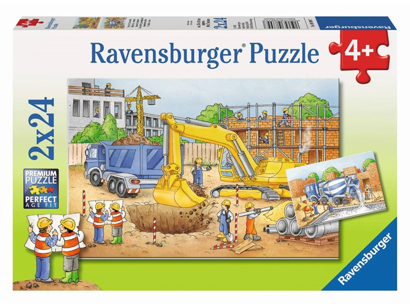 ravensburger puzzle vorsicht baustelle anz teile 2 x 24. Black Bedroom Furniture Sets. Home Design Ideas